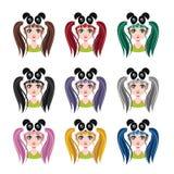有熊猫帽子的- 9种不同头发颜色女孩 免版税库存图片