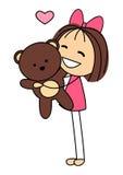 有熊玩具的逗人喜爱的小女孩 免版税库存图片