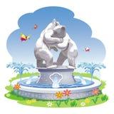 有熊雕塑的一个喷泉  免版税库存照片