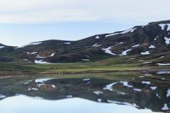 有熔化的雪的Mountain湖 免版税库存照片