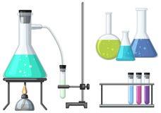 有燃烧器的科学烧杯 向量例证