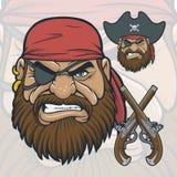 有燧发枪手枪的海盗头 免版税库存图片
