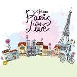 从有爱卡片的巴黎 免版税库存图片