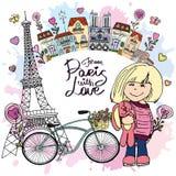 从有爱卡片的巴黎 免版税库存照片