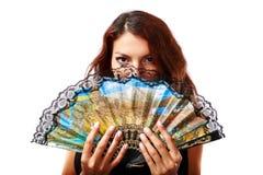 有爱好者和黑礼服的西班牙妇女 免版税库存图片