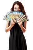 有爱好者和黑礼服的西班牙妇女 免版税库存照片