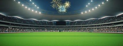 有爱好者的体育场在比赛前的夜 3d翻译 免版税库存图片