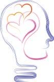 有爱心脏的人头 向量例证