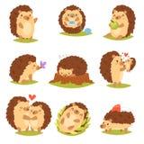 有爱心脏的猬传染媒介动画片多刺的动物字符孩子在自然野生生物例证套猬 库存例证