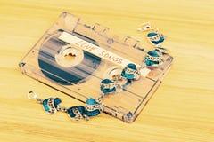 有爱情歌曲的卡型盒式录音机磁带 库存照片