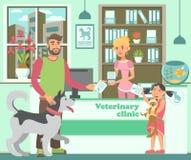 有爱斯基摩和女孩的动画片有胡子的人有猫的 库存例证
