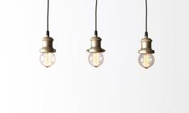 有爱迪生电灯泡的顶楼吊灯 免版税库存照片