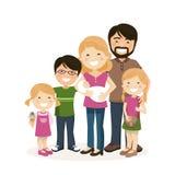 有父母、三个孩子和babyborn的幸福家庭 向量例证