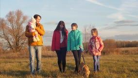 有父母的孩子在公园走与在皮带和谈话,微笑的狗一起 慢的行动 影视素材