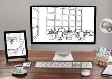 有片剂、计算机和电话的书桌 在每一个的1张办公室图纸 (所有白色和黑) 库存图片