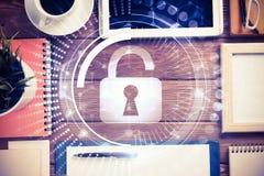 有片剂个人计算机的企业工作场所和在屏幕上的安全概念 免版税图库摄影