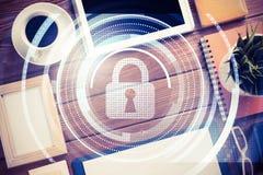 有片剂个人计算机的企业工作场所和在屏幕上的安全概念 图库摄影