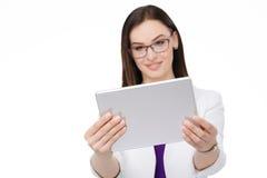有片剂个人计算机的女实业家 库存图片