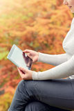 有片剂个人计算机的妇女在她的手上 免版税库存照片