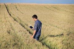 有片剂的农夫在领域 免版税库存照片