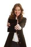 有片剂的美丽的女实业家 免版税库存图片