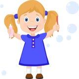 有牙刷动画片传染媒介例证的女孩 库存图片