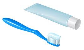有牙膏和牙膏的蓝色塑料牙刷有白色盖帽的 免版税库存照片