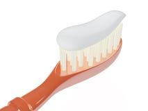 有牙膏的, 3D被隔绝的牙刷 免版税库存照片