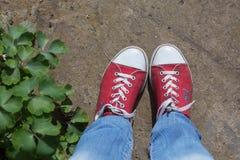有牛仔裤上面的红色鞋子 免版税库存照片