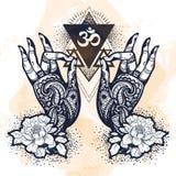 有牡丹花和神圣的几何的美好的手拉的被刺字的菩萨手 查出的向量例证 库存照片