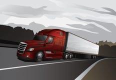有牵引车拖车的新的半卡车 库存图片
