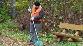 有犁耙的人在长凳附近收集叶子在公园 影视素材