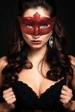 有狂欢节面具的美丽的妇女。 免版税库存图片