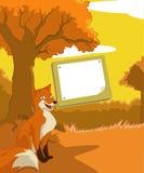 有狐狸的木牌照 库存照片