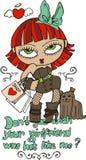 有狗例证的时髦逗人喜爱的女孩T恤杉的 免版税库存图片