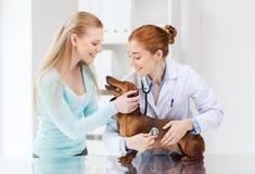 有狗和医生的愉快的妇女狩医诊所的 库存图片