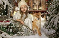 有狗的一个小女孩 免版税库存图片