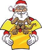 有狗的圣诞老人在当前箱子 库存图片