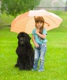 有狗的女孩在伞下 免版税图库摄影