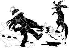 有狗的女孩在冬天森林在白色背景的传染媒介图象 库存图片