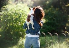 有狗的女孩在她的胳膊 一条小的杰克罗素狗 库存图片