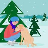 有狗的女孩在平的样式的冬天森林里 库存例证