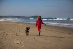 有狗的女孩在海滩 免版税库存图片