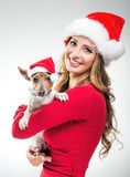 有狗的妇女在圣诞节圣诞老人帽子 库存照片