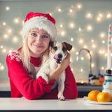 有狗的妇女在圣诞节帽子 库存照片