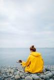 有狗的妇女在海岸 免版税库存照片