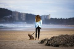 有狗的妇女在海滩 免版税库存图片