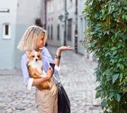 有狗的妇女在老城市 免版税库存图片
