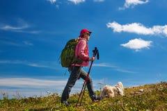 有狗的妇女游人 免版税图库摄影