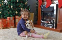 有狗的小女孩在地毯 库存图片